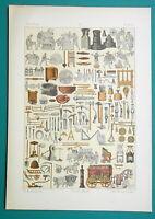ROMAN Utensils Building Tools Carriages Trades etc - 1883 Color Litho Print