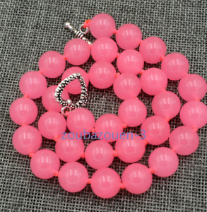12mm pink chalcedony round gemstone necklace 18 inch hidden silver clasp