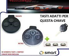 GOMMINO SMART FORTWO 451 3 TASTI RICAMBI PER CHIAVE GUSCIO TELECOM. + 3SWITCH