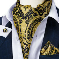 Mens Black Gold Paisley Cravat Silk Ascot Neck Tie Pocket Square Cufflinks Set