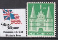 GERMAN BIZONE American & Brit occ  Castles 1Mk Mi 97/IIwg  perf 11 cv 60$ MNH**