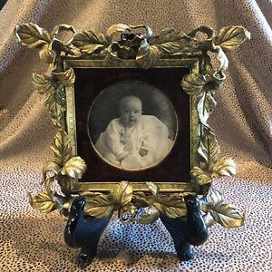 8 x 8 Antique Gilt Brass Rococo Picture Frame Velvet Mat Circular Window