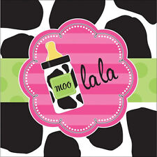 BABY SHOWER Cow Print Girl LUNCH NAPKINS (16) ~ Party Supplies Serviettes Pink