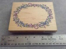 """STAMPENDOUS """"RETIRED"""" RUBBER STAMP"""" RO44 OVAL RIBBION FRAME """" 1998"""