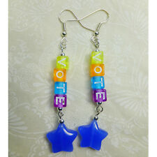 VOTE Earrings w/ Blue Glass Star Beads & Multi-colored Letter Beads NEW