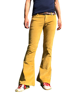 FLARES Mustard Yellow Mens STRETCH bell bottoms Cords hippie vtg indie trousers