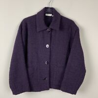 Vintage Avoca Cropped Eggplant Purple Pure Wool Women's size 42 US 12 Blazer