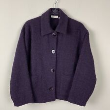 Vintage Avoca Cropped Eggplant Purple Pure Wool Women's size 42 Us 12 Blazer
