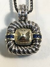 "Rare David Yurman Vintage Pendant Necklace Sterling 14k Gold Sapphires 17"" Chain"