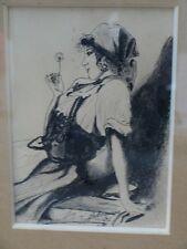 Portrait dessin crayon La gitane au chardon signé 1917
