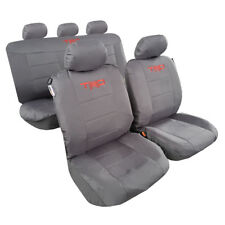 Cool Gray Canvas Car Seat Cover, 2 Carbon Shoulder Pads & 1 Steering Wheel Cover