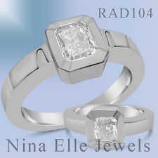 CERTIFIED 1CT RADIANT CUT SOLITAIRE  DIAMOND ENGAGEMENT RING 14K