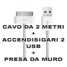 Kit Carica Batteria Auto Cavo 30 Pin 2M Usb Per Iphone 3G 3GS 4 4S IPOD Ipad 2