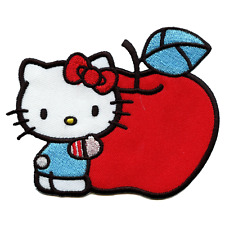 Hello Kitty Hugging Big Red Apple Iron On Embroidered Patch