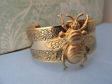 BEE CUFF HONEY BEE CUFF DESIGNER ANGELINA VERBUNI VINTAGE ENGRAVED BEE BRACELET