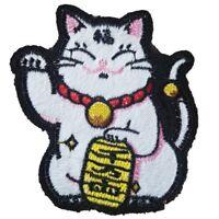 Chinese Lucky Cat Iron On Patch Sew On Transfer Maneki-neko Japanese Lucky Cat