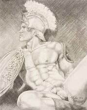"""9"""" x 12"""" drawing print nude male helmet with shield gay interest"""