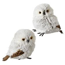 Set/2 RAZ Imports White Snow Owl Plush Forest Christmas Home Tree Decor Ornament
