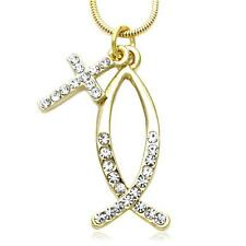 Gold Tone Catholic Christian Cross Fish Symbol Ichthys Necklace Pendant Charm a1