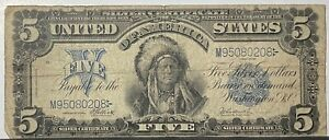 Large Note 1899 $5 Indian Chief Silver Certificate Note