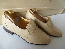Christian Dior ostrich loafer UK 8.5 42.5 New vtg Monsieur cream beige leather