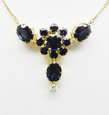 "14K YELLOW GOLD 6.54 CARATS SAPPHIRE .08PTS DIAMOND NECKLACE 16-1/4"" L - LB2427"
