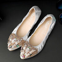 Women Crystal Bow tie Pointy Tote Flats Soft Ballet Driving Shoes ALL US Size
