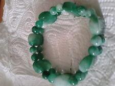 Bracelet en jade, 2 rangs, vert foncé, idée cadeau Fêtes.