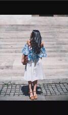 Zara off White Striped Linen Flounce Midi Skirt With Pockets Size S