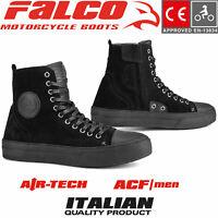 FALCO LENNOX Motorrad Sneaker Herren Leder Sneaker schwarz mit Protektoren CE