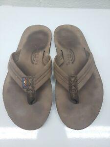 Rainbow Mens Classic Thong Comfort Slip On Brown Flip Flop Sandals Size 10.5