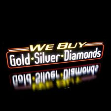 New Led We Buy Gold Silver Diamonds Pawn Shop Sign Light Box, Neon Alternative