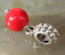 Red Coral Dangling Ball Crystal Charm Bead Reiki Blessed in Lavender Bag