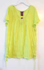Beverly Drive Womens Plus Size Top Shirt Green Ruched Sides Blouse Size 1X  NWT