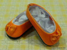 "ORANGE Slip-On w/ BOW DOLL SHOES fits American Girl 14.5"" WELLIE WISHERS DOLL"