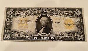 1922 SERIES $20.00 TWENTY DOLLAR GOLD CERTIFICATE NOTE CRISP NR