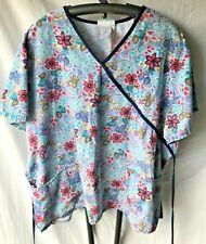 Sb Scrubs Women'S Plus 2X Scrub Top Periwinkle W Multicolor Floral Ties In Back