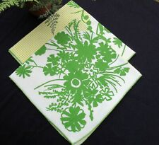 Collectible Vintage Set 2 Vera Neumann Napkins Green Yellow Floral Scarce Design
