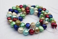 BR24B Zuchtperlen Strang Süßwasser Perlen Schmuck bunt Halsketten 7-8 mm barock