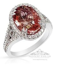 GIA 18kt 4.94 tcw Orangy-Pink Oval Cut Natural Tourmaline & Diamond Custom Ring