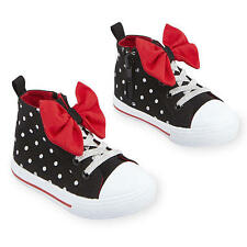 Disney Baby Disney Girls Black Polka Dot Bow Adorned High Top Hard Sole Sneakers