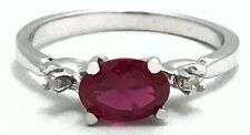 RUBY 1.12 Cts & DIAMONDS RING 14k WHITE GOLD* FREE SHIPPING & RE-SIZING SERVICE
