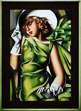 Tamara de Lempicka-Mädchen in Grün mit Handschuhen-Ölgemälde Handgemalt 112x82cm