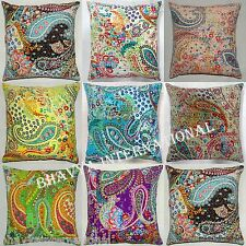 5Pc Wholesale Lot Indian Kantha Cushion Cover Cotton Pillow Case Paisley Throw