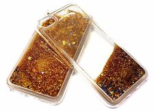 For iPhone 7 Gold Glitter Blue Gold Stars Liquid Waterfall Sparkle Silicone Case