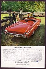 1963 Vintage Ford Thunderbird Sports Roadster Convertible Car Photo Print AD