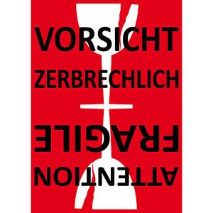 Aufkleber Sticker 15cm Achtung Vorsicht Glas Zerbrechlich Bruchgefahr Umzug Post