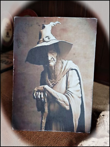 Primitive Vintage Distressed `Sign on Canvas *Creepy Old Witch Hag Scary 8X10