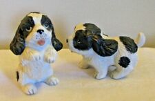 Set 2 Homco Black White Cocker Spaniel Puppy Dog Figures 1427 Vintage Porcelain