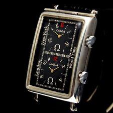 Omega Vintage Mens Wristwatch Art Deco Swiss Silver Black Men's Wrist Watches